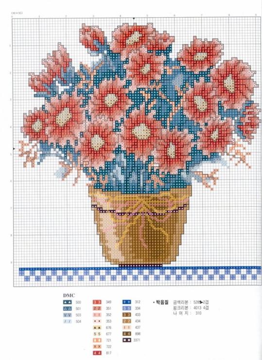 Схемы для вышивки цветы в горшках 48