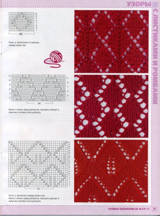 Вязание узоры ромбы спицами схемы и описание
