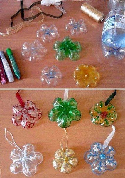 Как сделать из пластмассовой бутылки новогоднюю игрушку
