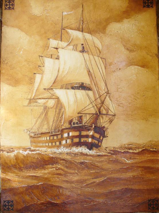 Картина корабль в море своими руками