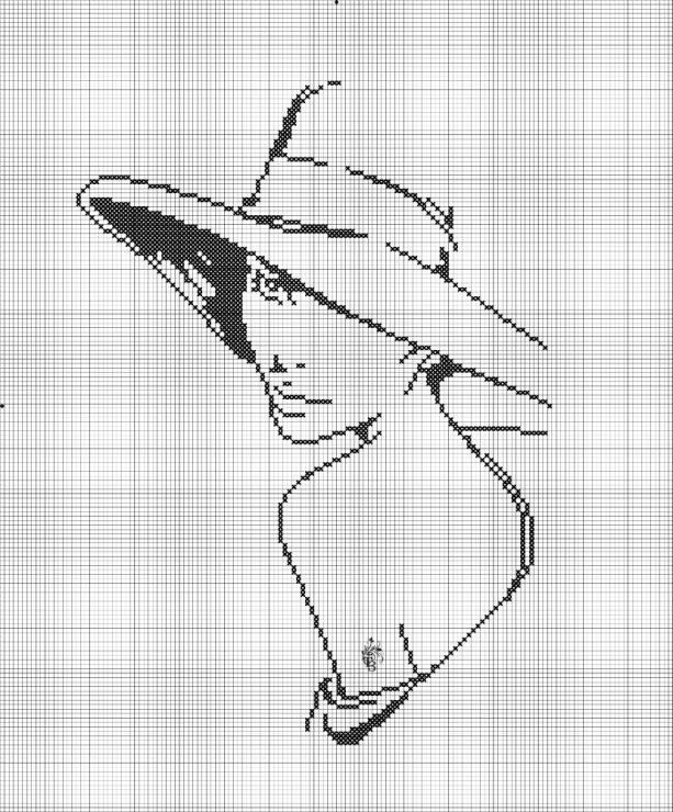 Вышивки схемы дама в шляпе монохром 52