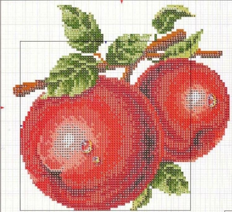 Яблочный спас вышивка крестом схема 40