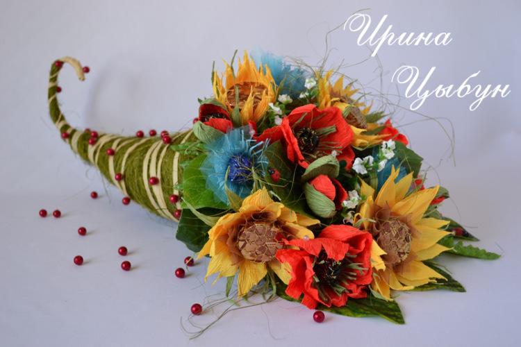 Как сделать рожок с цветами