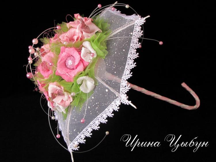 Зонт из цветов и конфет 156
