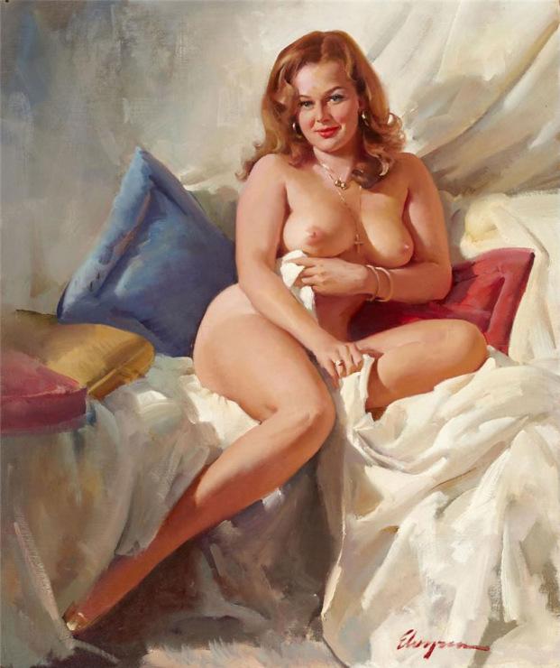Голая женщина позирует художнику
