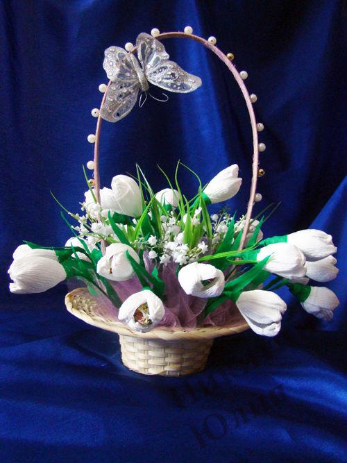 Цветы из конфет своими руками подснежники 58