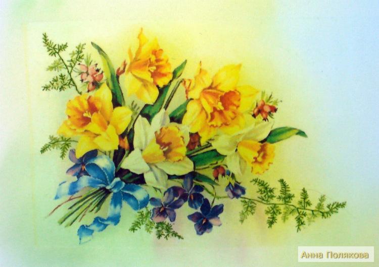 Весенние цветы вышитые лентами