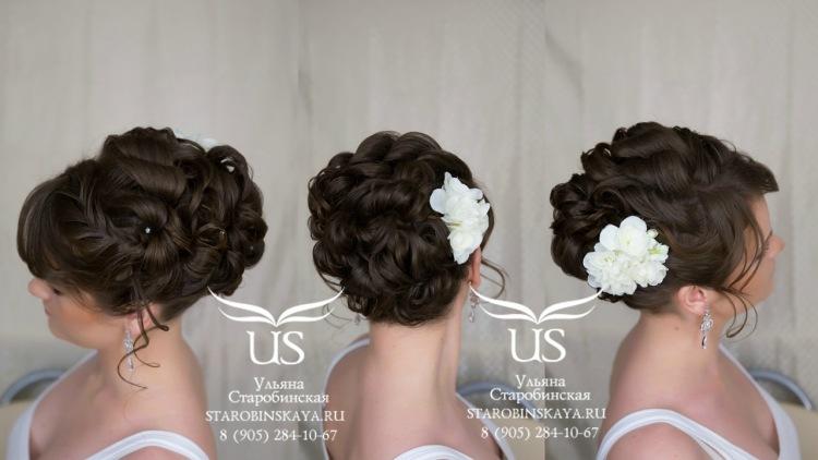 Собранная прическа на средние волосы на свадьбу