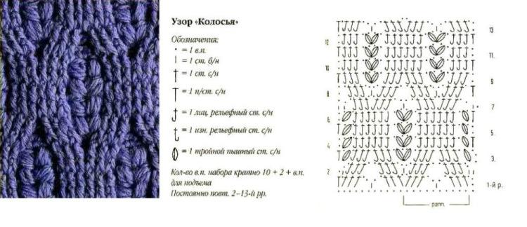 Вязание узор колос