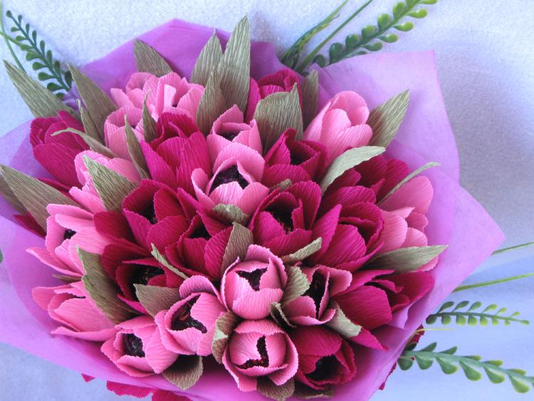 Как сделать букет тюльпанов из гофрированной 317